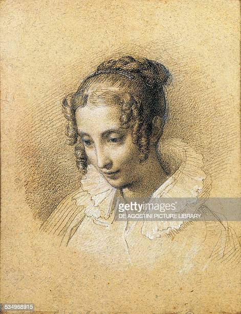 Portrait of Teresa Borri widow of Count Decio Stampa second wife of Alessandro Manzoni drawing Italy 19th century