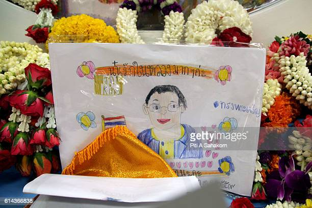 Portrait of Thai King Bhumibol Adulyadej drawn by children to prayers for the king's health at Siriraj hospital. Thailand's King Bhumibol Adulyadej...