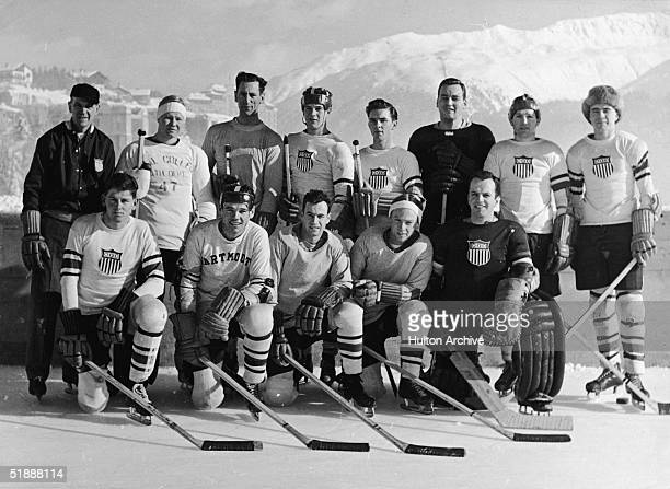 Portrait of the 1948 US Olympic ice hockey team sanctioned by the US Olympic Committee on an outdoor ice rink at the 1948 Winter Olympic Games St...
