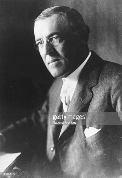 Portrait of the 28th U.S. President Woodrow Wilson.