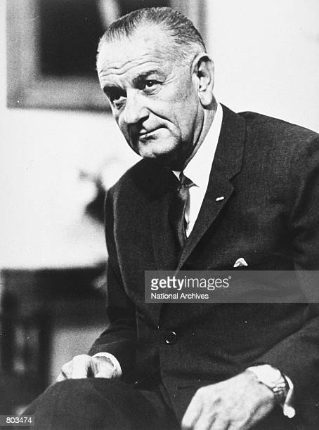 Portrait of the 36th US President Lyndon B Johnson circa 1964