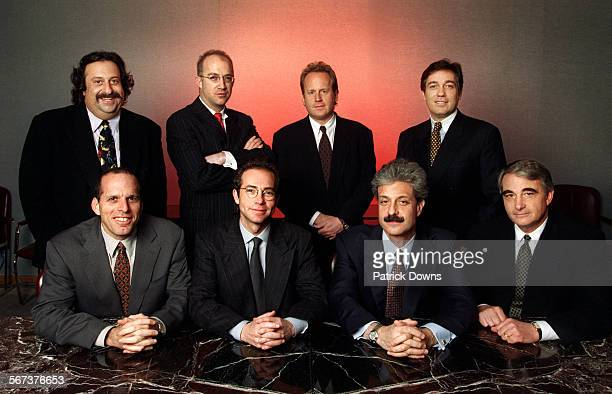 portrait of the 8 managing directors of CAA– Creative Artists Agency one of the most powerful Hollywood agencies FRONT ROW L to R Jack Rapke Richard...
