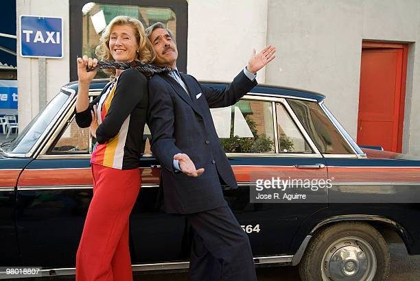Portrait of the actor Imanol Arias and the actress Ana Duato, in the spanish famous tv serie 'Cuéntame'.