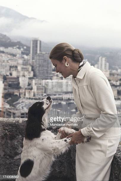 Portrait of the actress and Princess of Monaco Grace Kelly wife of Rainier III Prince of Monaco on the terrace of the Royal Palace of Monaco Monaco...