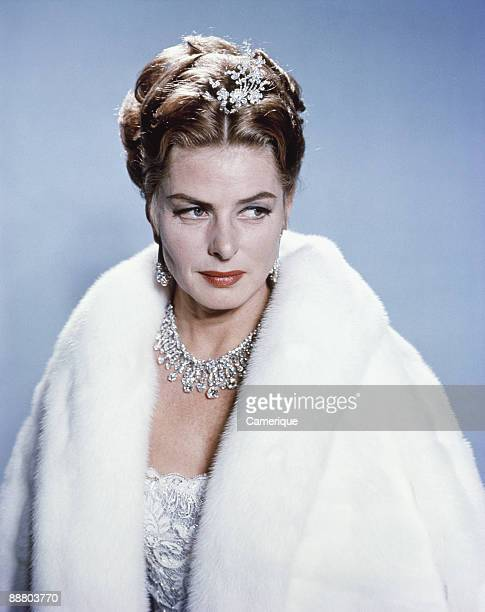 Portrait of the actress Ingrid Bergman wearing a fur coat and diamond necklace and tiara ca1960s