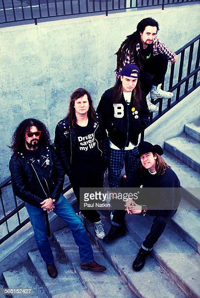 Portrait of the American band Faith No More Chicago Illinois April 1 1990 Pictured are standing from left Jim Martin Billy Gould Mike Patton and Mike...