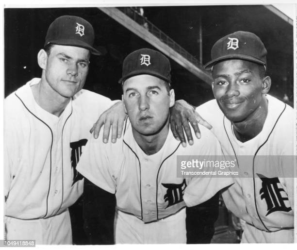Portrait of the American baseball players all in the first year on the Detroit Tigers team pose together in Tiger Stadium Detroit Michigan 1961...