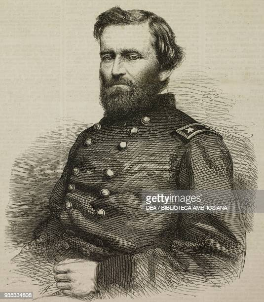Portrait of the American general Ulysses S. Grant , illustration from the magazine The Illustrated London News, volume XLVI, April 22, 1865.