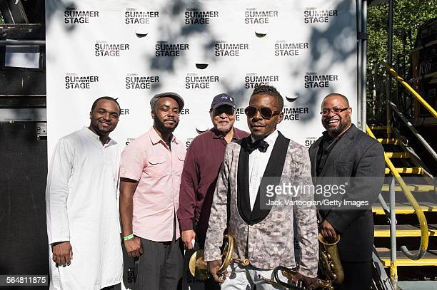 Portrait of the American Jazz group the Roy Hargrove Quintet as they pose backstage after a performance during the Blue Note Jazz Festival at Central...