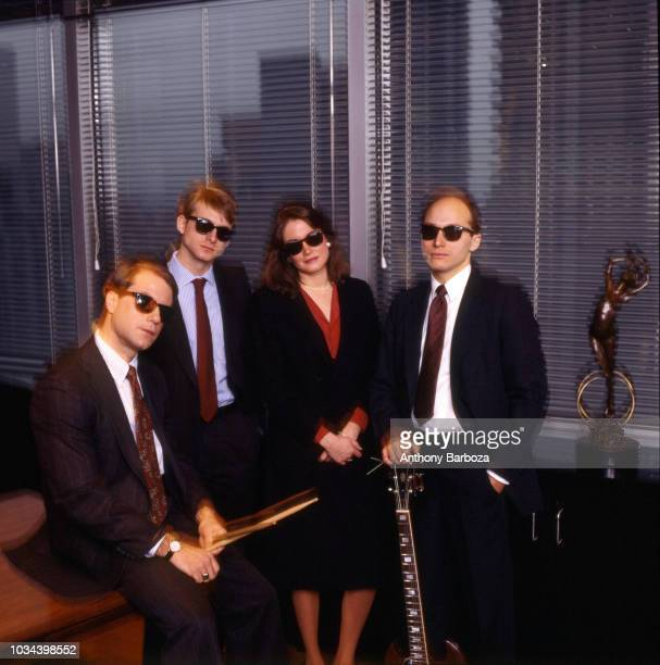 Portrait of the American New Wave parody band the VPs New York mid to late 1980s Pictured are from left Jim Clash Phil Shaw Jennifer Hoadley and...