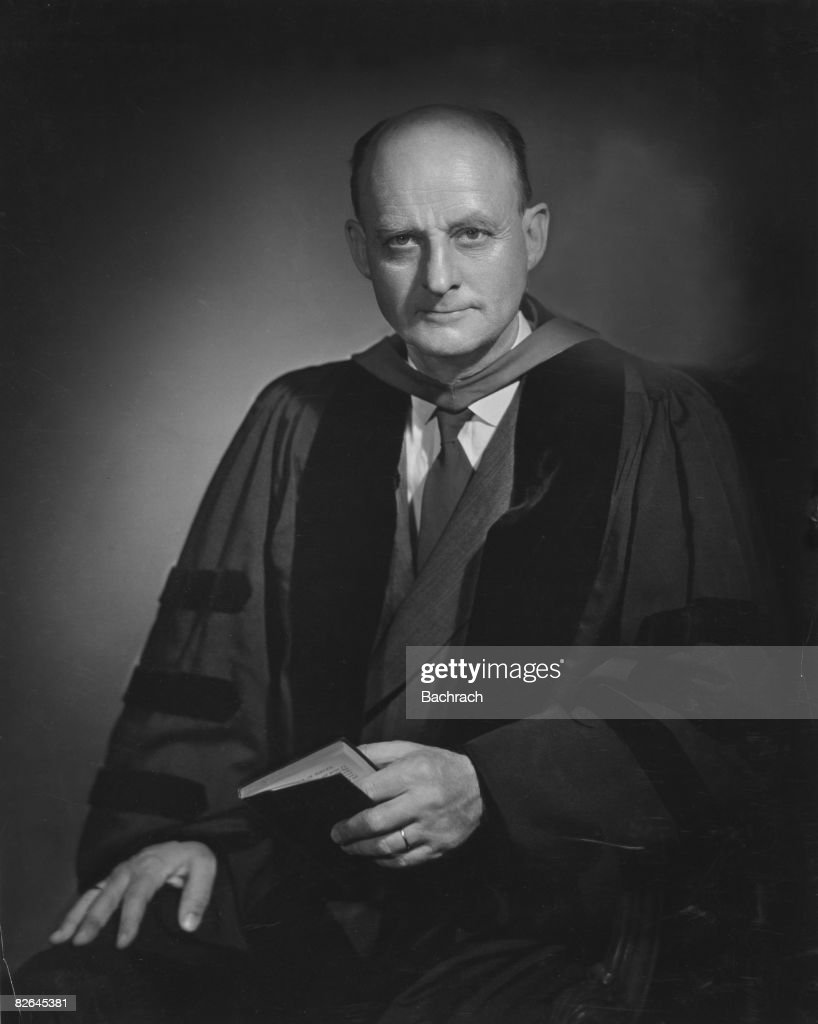 A portrait of the American Protestant theologian Reinhold Niebuhr (1892 - 1971), United States, mid-20th century.