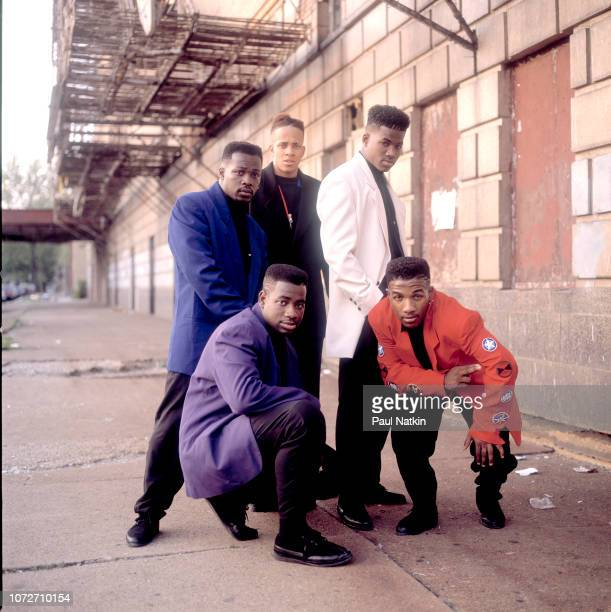 Portrait of the American RB band Riff left to right Kenny Kelly Stephen Capers Jr Michael Best Dwayne Jones and Anthony Fuller outside the Riviera...