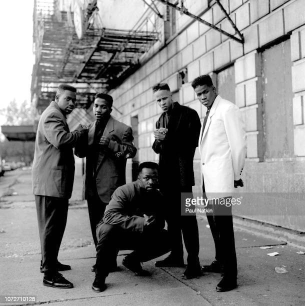 Portrait of the American RB band Riff left to right Stephen Capers Jr Anthony Fuller Kenny Kelly Michael Best and Dwayne Jones outside the Riviera...