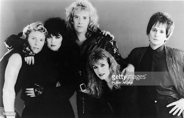 Portrait of the American rock group Heart including: Mark Andes, Ann Wilson, Howard Leese, Nancy Wilson and Denny Carmassi, circa 1980s.