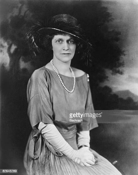 Portrait of the American socialite Nancy Witcher Astor, Viscountess Astor shows her wearing a hat, dress and formal gloves, Providence, Rhode Island,...