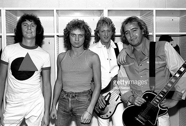 Portrait of the Americanbased rock band Foreigner as they pose backsatge at the Rosemont Horizon Rosemont Illinois November 8 1981 Pictured are from...