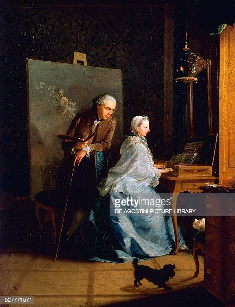 Portrait of the artist and his wife at the Spinet painting by Johann Heinrich Tischbein I 40x51 cm Germany 18th century Berlino Dahlem Staatliche...