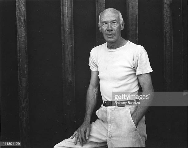 Portrait of the author Henry Miller wearing a white shirt California mid twentieth century