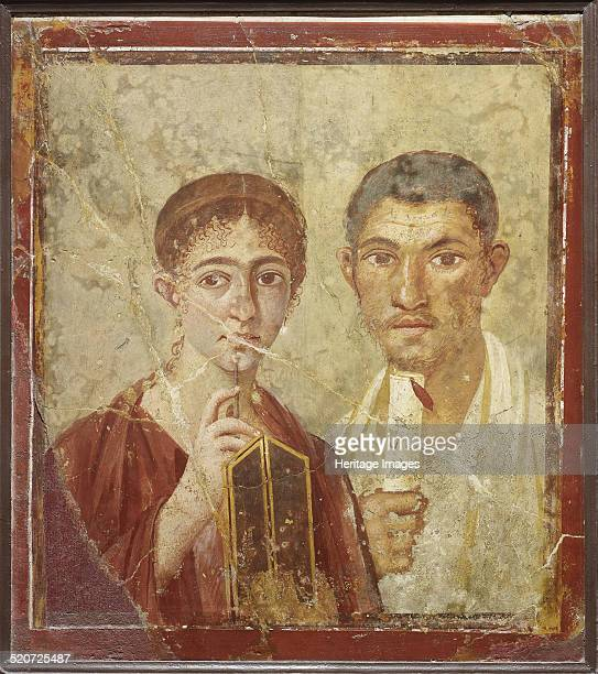 Portrait of the baker Terentius Neo and his wife. Found in the collection of Museo Archeologico Nazionale di Napoli.