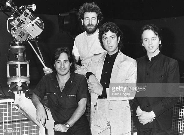 Portrait of the band '10 CC' Lol Creme Kevin Godley Graham Gouldman and Eric Stewart promoting their new single 'Feel the Love' June 27th 1983