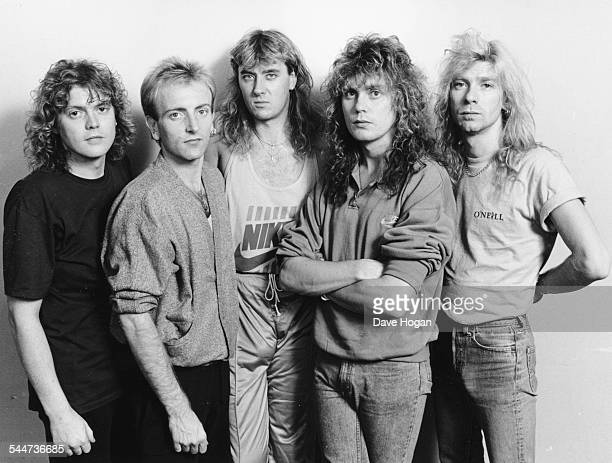 Portrait of the band 'Def Leppard', prior to their home town concert in Sheffield, England, October 9th 1987.