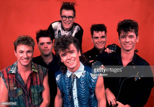 Portrait of the band INXS at the Poplar Creek Music Theater in Hoffman Estates, Illinois, June 23, 1984.