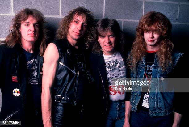 Portrait of the band Megadeth at the UIC Pavilion in Chicago Illinois February 12 1987 Left to right David Ellefson Gar Samuelson Chris Poland and...