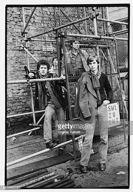 Portrait of the band 'Orchestral Manoeuvres in the Dark' Andy McCluskey Malcolm Holmes Dave Hughes and Paul Humphreys on a building site February 1980