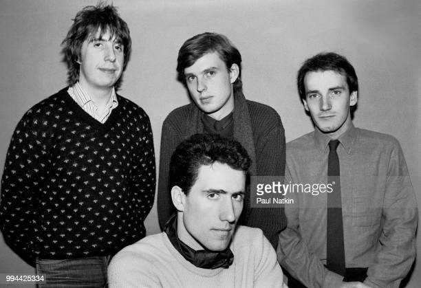 Portrait of the band Orchestral Manoeuvres in the Dark left to right Malcolm Holmes Andy McCluskey Paul Humphreys and Martin Cooper at the Park West...