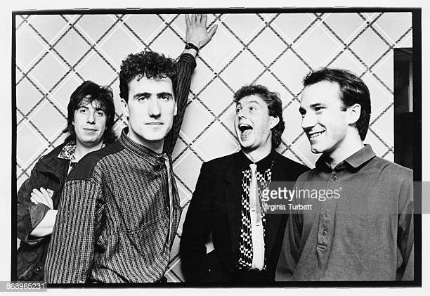 Portrait of the band 'Orchestral Manoeuvres in the Dark' Malcolm Holmes Andy McCluskey Paul Humphreys and Martin Cooper Manchester August 29th 1984