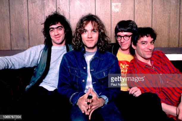 Portrait of the band REM, left to right, Bill Berry, Michael Stipe, Mike Mills and Peter Buck at the Aragon Ballroom in Chicago, Illinois, July 7,...
