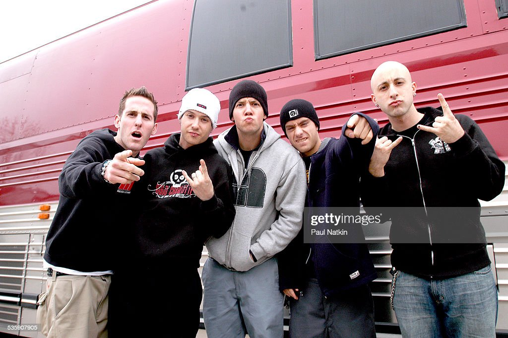 Portrait of the band Simple Plan, Chicago, Illinois, April 19, 2003.