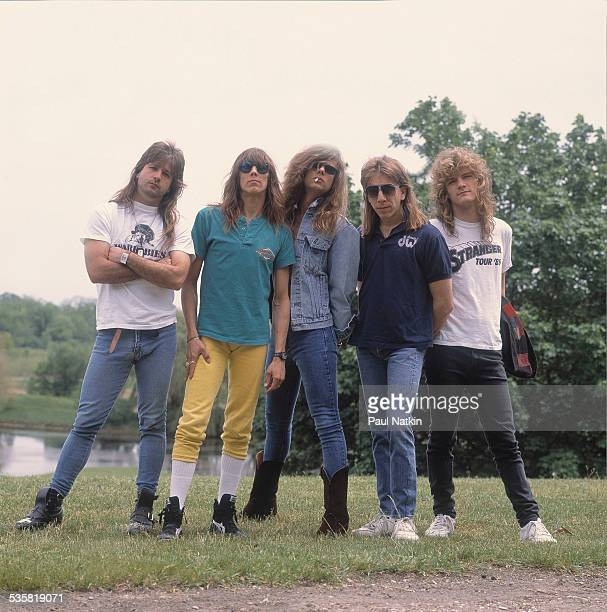 Portrait of the band Tesla at the Alpine Valley Music Theater East Troy Wisconsin June 1 1989