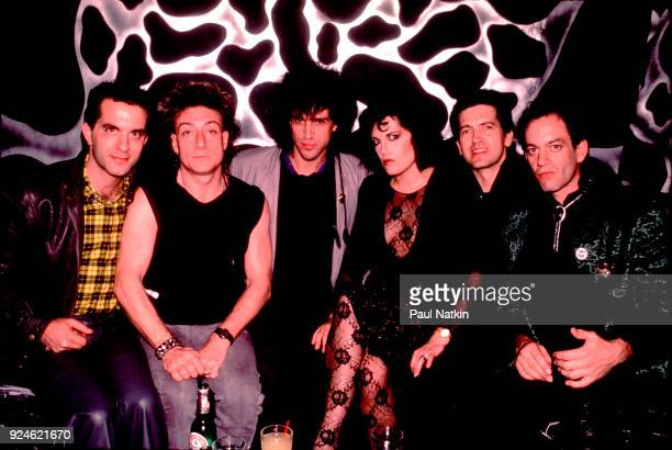Portrait of the band The Motels at a Halloween party at the Limelight in Chicago Illinois October 29 1985 Left to right Marty Jourard Brian Glascock...