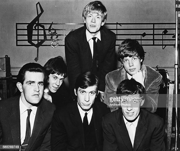 Portrait of the band 'The Rolling Stones' Brian Jones Mick Jagger Bill Wyman Charlie Watts Keith Richards and Ian Stewart circa 1963