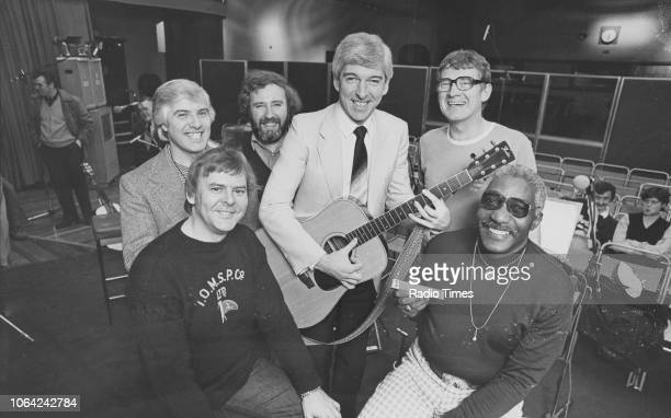 Portrait of the band 'The Spinners' Hugh Jones Mick Groves Johnny McCormick presenter Tom O'Connor Tony Davis and Cliff Hall photographed for Radio...