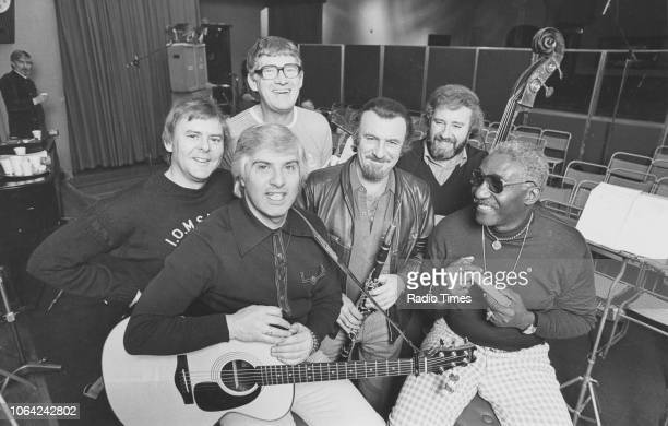 Portrait of the band 'The Spinners' Hugh Jones Mick Groves Tony Davis clarinettist Acker Bilk Johnny McCormick and Cliff Hall photographed for Radio...