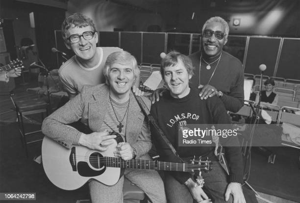 Portrait of the band 'The Spinners' Tony Davis Mick Groves Hugh Jones and Cliff Hall in a recording studio August 1982