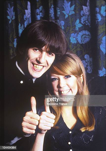 Portrait Of The BEATLES Guitar Player George HARRISON And His Fiancee Patti BOYD A Short Time