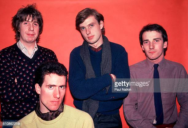 Portrait of the British band Orchestral Manoeuvres in the Dark as they pose backstage at the Park West Auditorium Chicago Illinois March 14 Pictured...