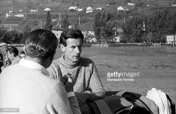 Portrait of the British colonel and aviator Peter Townsend at a circuit riding. Merano, 1955