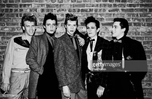 Portrait of the British rockabilly band Levi and the Rockats at the Holiday Ballroom in Chicago Illinois July 4 1981 Left to right guitarist Danny...