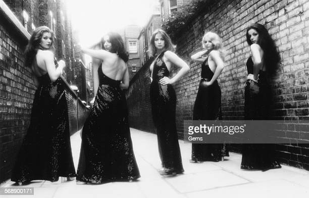 Portrait of the British television dance troupe Pan's People Sue Menhenick Ruth Pearson Louise Clarke Babs Lord and Cherry Gillespie circa 1974