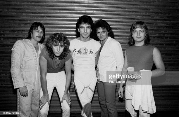 Portrait of the Canadian band Saga left to right Steve Negus Jim Gilmour Michael Sadler Jim Crichton and Ian Crichton at the Rosemont Horizon in...