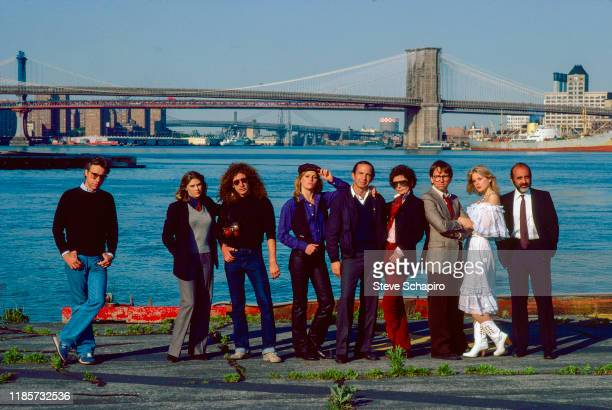 Portrait of the cast and crew of the film 'They All Laughed' New York New York 1980 Pictured are from left American film director Peter Bogdanovich...