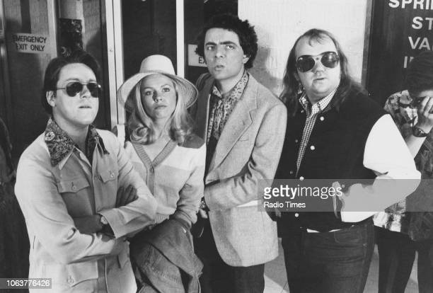 Portrait of the cast of comedy show 'Not the Nine O'Clock News' Griff Rhys Jones Pamela Stephenson Rowan Atkinson and Mel Smith March 13th 1980
