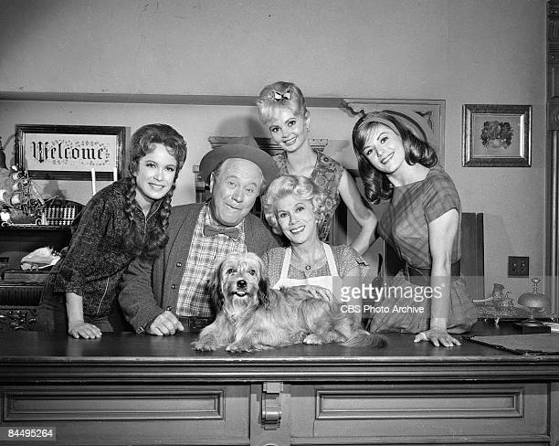 Portrait of the cast of 'Petticoat Junction' as they pose on set during the filming of an episode entitled 'Betty Jo's Dog' Los Angeles California...