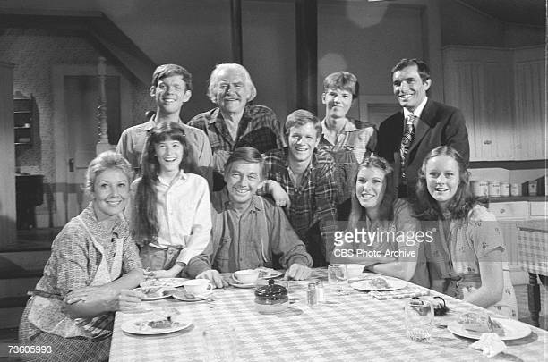 Portrait of the cast of television drama 'The Waltons' in costume and on the set taken between the series' fifth and sixth seasons August 10 1977...