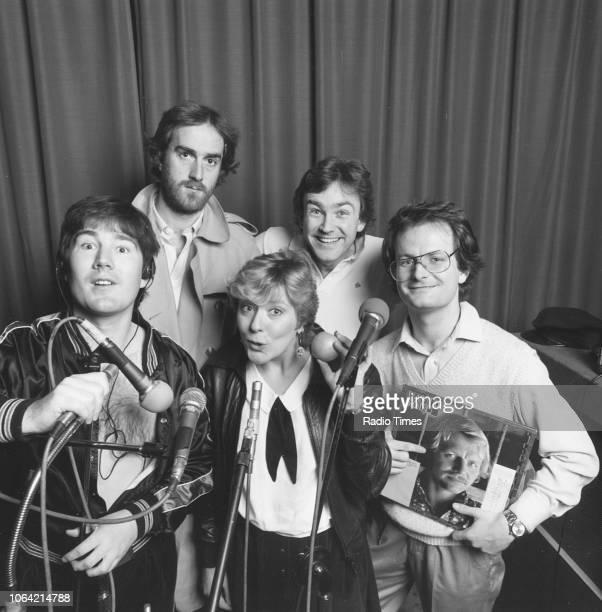 Portrait of the cast of the BBC Radio 4 drama 'Radio Active' Geoffrey Perkins Angus Deayton Helen Atkinson Wood Michael FentonStevens and Philip Pope...