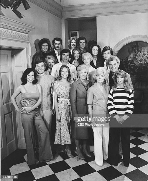 Portrait of the cast of the daytime soap opera 'The Young & the Restless,' 1977. Pictured are, top row from left, American actors David Hasselhoff ,...